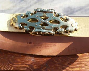 SUN - Vintage Vanilla Creme Leather Brass Buckle Belt