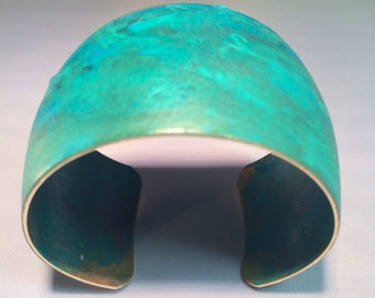 Patina Cuff Bracelet Turquoise Convex Bangle