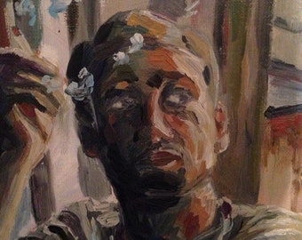 """Oil Painting """"Man on the window sill"""""""