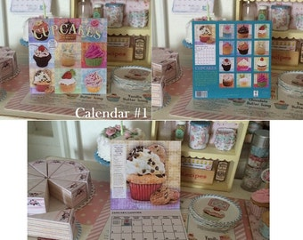 CALENDAR - CUPCAKE & DESSERTS Themed - Choose 1/12 or 1:6 Scale