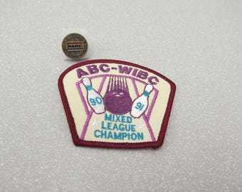 1970s vintage bowling patch, ABC-WIBC 90-91 Mixed League Champion, iron on patch WITH metal pin