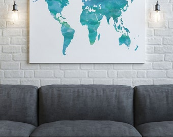 World Map Canvas - World Map Print - Watercolor Map - Canvas Wall Art - Green Map Art - Canvas Print - Home Decor - Canvas Quote