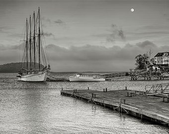 "Nautical Photography,Maine,Bar Harbor,Seascape Photography,Fine Art Photography,Black and White Prints,""Margaret Todd and other"""