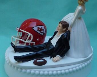 Wedding Cake Topper Kansas City Chiefs KC Football Themed w/ Garter Funny Sports Fan Marriage Bride Groom Favorite Team Sporty Humorous Fans