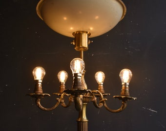 Elaborate Antique Brass Standard Lamp - Five Branch Candelabra and Uplighter Floor Light