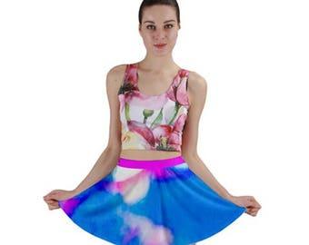 Blue, Pink, & White Flared Mini Skirt - Yoke Circle Skirt - Abstract Print - Flirty, Colorful Spring Fashion