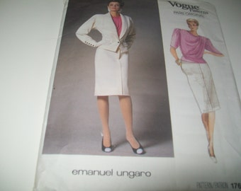 Vintage Vogue Paris Original Pattern by Emanuel Ungaro / Jacket, Skirt, and Blouse / Vogue 1766 / Size 12.