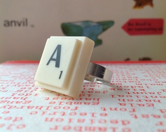 Upcycled Scrabble Tile Ring