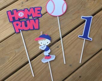 Baseball Centerpiece - set of 4 sticks; Baseball birthday; Baseball decorations; Sports party; Baseball baby shower; Little Slugger party  -