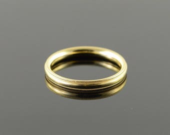 14k 3mm Milgrain Wedding Band Ring Gold