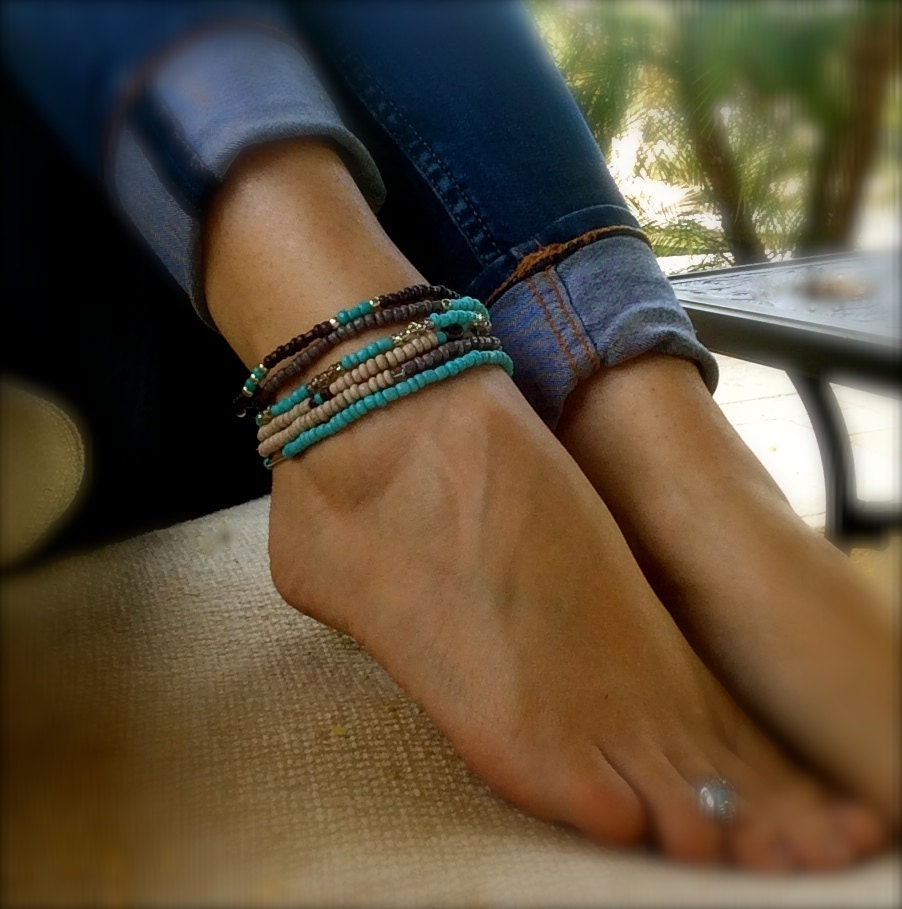 p in bracelets usa anklet shell turquoise ankle caymancode made cute jewelry texas summer