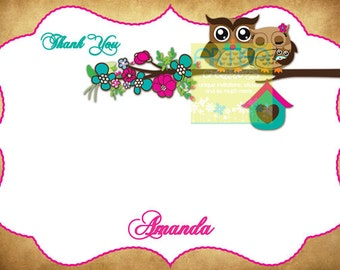 Owl Thank You Card - Owls Thank You Card - Pink and Teal Owls Note Card - Owls Note Card