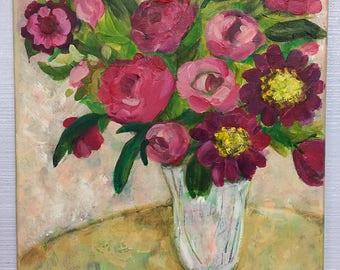 Vase of Pink Flowers; Magenta Flower Arrangement; Pink Floral Still Life