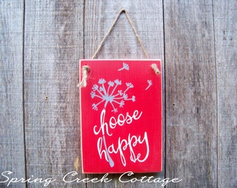 Wooden Signs, Choose Happy, Inspirational Sayings, Handpainted Signs, RusticSigns, Home & Living, Home Decor