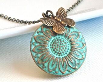 Sunflower Locket Necklace - Verdigris Patina Brass, Flower Jewelry, Butterfly