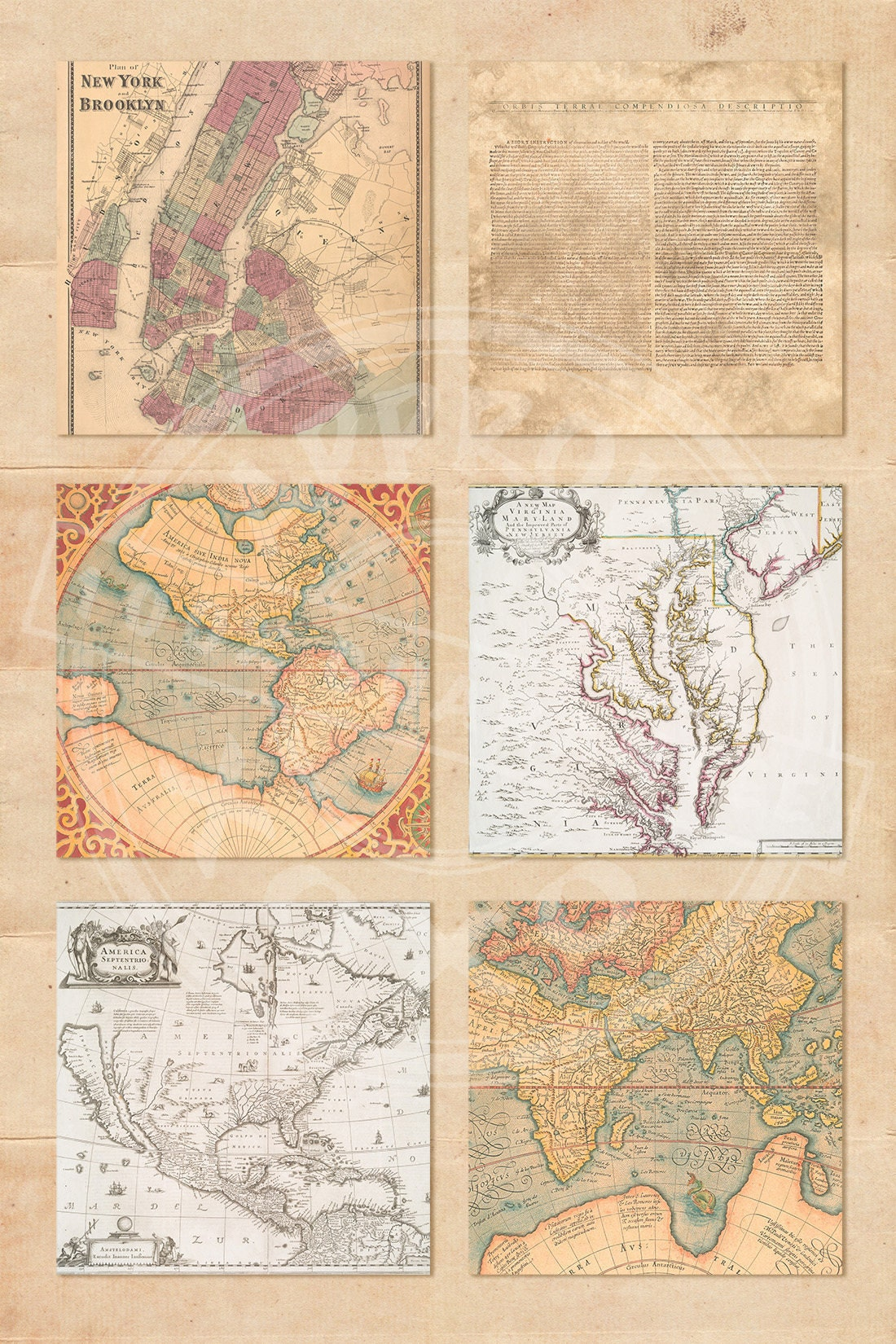 Old maps digital papers vintage map download grungy parchment this is a digital file gumiabroncs Gallery