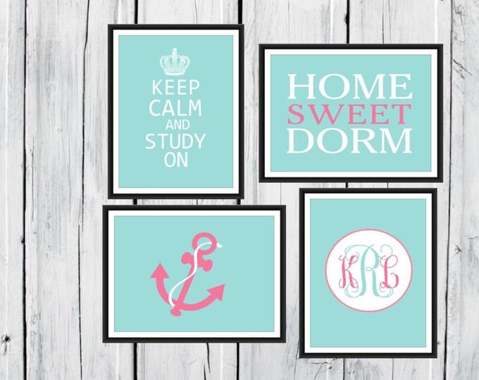 Dorm Decor Custom Colors 4 Print Set -  11x14