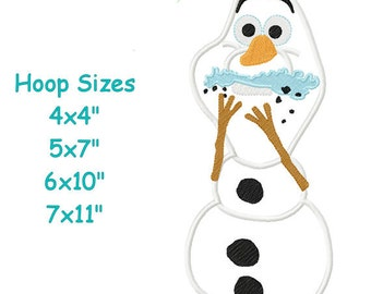 Snowman 0laf eating cake Spring Fever Machine Embroidery Applique Design Pattern 4x4 5x7 6x10 7x11 INSTANT DOWNLOAD