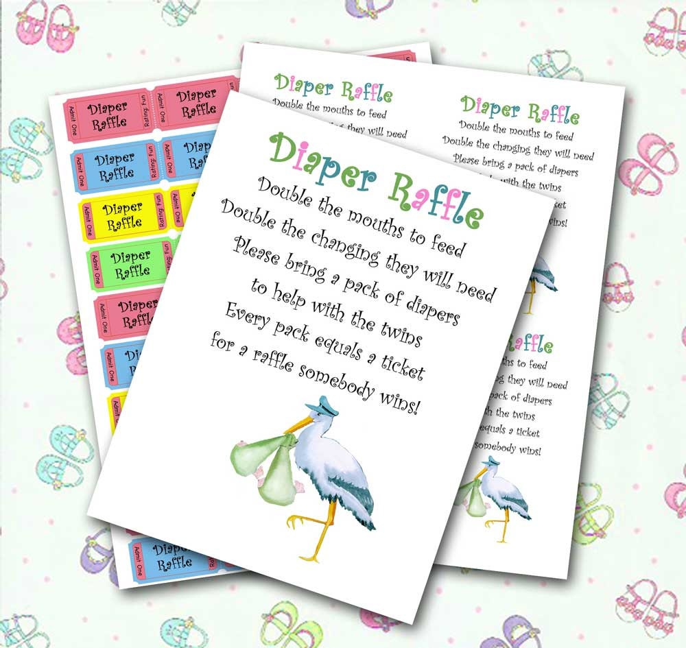 Twin Diaper Raffle Baby Shower Invitation Insert and Raffle