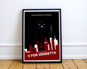 FREE SHIPPING* V For Vendetta - Movie Poster, Poster, Movie, Vendetta Poster, Minimalist Poster, V For Vendetta Print, V For Vendetta Poster