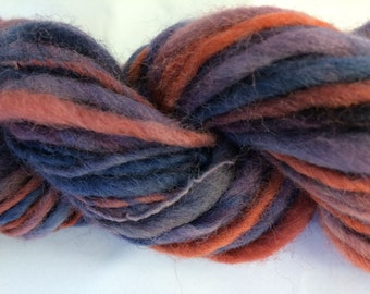 Handspun Merino Yarn, Single ply, Thick & Thin, Purple/Blue/Red, Approx 41 Yards
