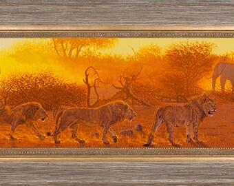 Lions Art Print - Dusk Patrol - Fine Art Canvas Limited Edition Giclee Print