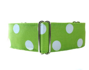 Polka Dot Martingale Collar, Lime Green Martingale Collar, Polka Dot Dog Collar, Green Greyhound Collar, Greyhound Martingale Collar
