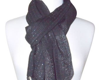 Black Soft Rayon Shimmery Sequence Scarf