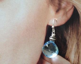 Blue Topaz Briolette Drop Earrings Pierced Wire Tops Sterling Silver Watery Blue