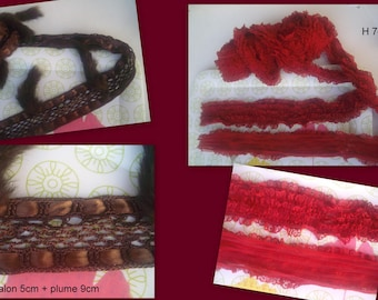 VINTAGE * set of RIBBONS lace and feathers