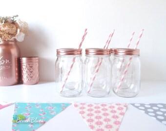 Mason Jar Glass / rose gold decor / party decor / mason jar lids / copper / baby shower / drinking glasses / pint jars / choice of color