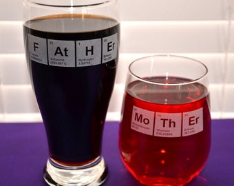 Custom Periodic Table FAtHEr/MoThEr Personalized Engraved Glass for Mothers Day or Fathers Day, Perfect Birthday Gift for Mom or Dad