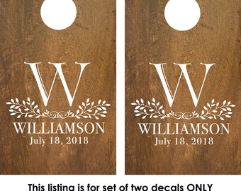 Cornhole Decals | Rustic Wedding Decor | Cornhole Board Monogram | Corn hole Decal | Personalized Cornhole Game Decal | Custom Cornhole Game
