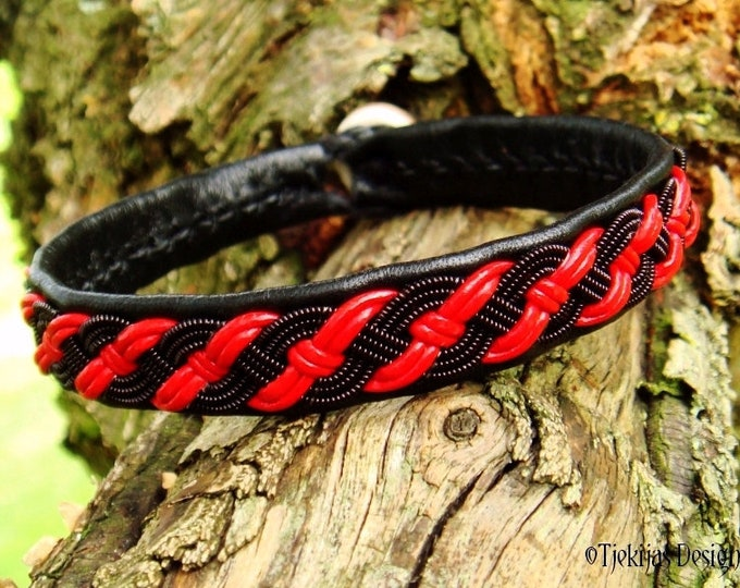 Gothic Viking Bracelet, Pagan Sami Bracelet, VALHALLA Red Black Leather Bracelet with Black copper Braid