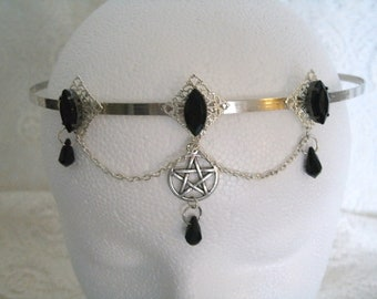 Pentacle Circlet, wiccan jewelry pagan jewelry wicca jewelry witch witchcraft goddess handfasting headpiece pentagram magic wiccan circlet