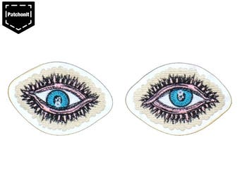 1 Pair Eye Patch Eye Embroidered Patch Eye Sew on Patch Eye Back Patch Eye Applique Aesthetic Patch Backpatch for Denim Jacket