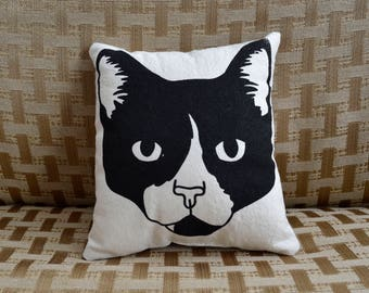 Chance, Cat, Throw Pillow, Screenprinted, Illustration, Small