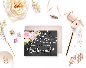 Will You Be My Bridesmaid Card Bridesmaid Cards Ask Bridesmaid Bridesmaid Maid of Honor Gift Matron of Honor Flower Girl #CL104