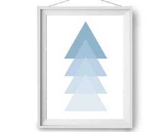 Minimal Art, Blue Wall Art, Scandinavian Print, Geometric Art Prints, Triangles Art, Blue Nursery Decor, Nursery Art, A1, 8x10, Print Avenue