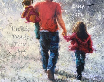 Father Two Daughters Art Print, walking with dad, dad and two daughters, dark skinned dad, black dad two girls, hispanic dad. Vickie Wade