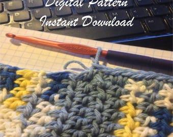 Easy striped crochet cotton towel PDF Pattern