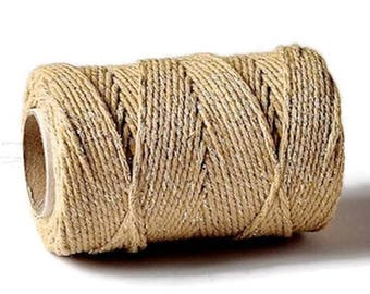 Gold Sparkle 2mm Cotton Bakers Twine *Sold Per 5mtr*