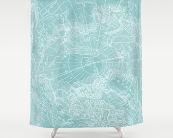 Map Shower Curtain - Arctic Teal map - Home Decor - Bathroom - maps, teal, ice, cool, travel decor , coastal chic