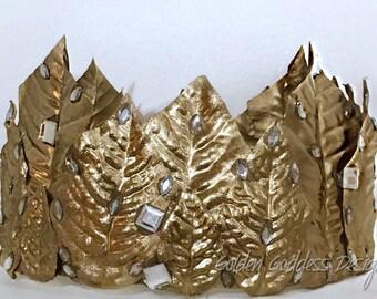 Golden Leaf Crown, Headdress, Larp-Headpiece, Fantasy, Fairytale, Cosplay, Woodland, Headpiece