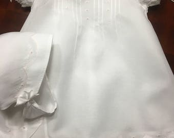 Swiss Batiste French Handsewn Baby Gown Bonnet & Slip