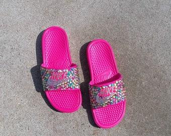 Bling Nike Slides - Bedazzled - Pink - Benassi - Sparkly - Custom Nikes - Multi-Colored - Glam Shoes - Female Athlete - Diva -