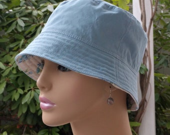 Cancer Hat Chemo Hat Bucket Hat Cancer Cap Sky Blue Made in the USA SMALL MEDIUM