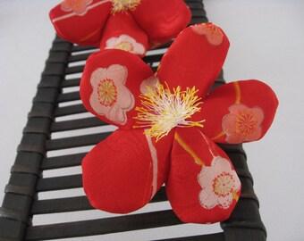 Japanese Ume blossom Ornament OR Scent Bag,Silk Kimono fabric