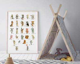 Alphabet poster - Animals poster, ABC animals, alphabet print, abc nursery, kids decor, alphabet poster, Nursery art - Nursery decor