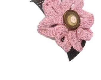 Festival Headband Flower Pink and Brown Elastic Boho Headband Crochet Flower
